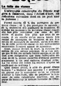 Arch. BNF / Gallica. La Bataille Syndicaliste n°376 du 06/05/1912. À propos de la catastrophe du Titanic, des statistiques éloquentes
