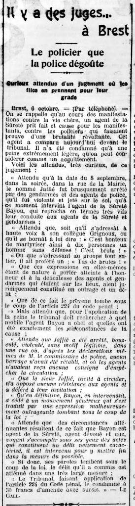 Tiens, les flics actuels feraient bien d'en prendre de la graine ... Arch. BNF / Gallica / Codhos. La Bataille Syndicaliste n°164 du 07/10/1911.