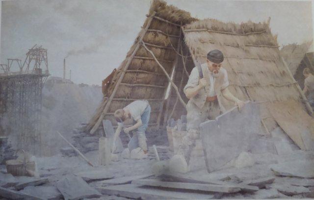 """Huile sur toile, """" Fendeurs d'ardoises"""", par Ludovic Alleaume. Musées des Sciences de Laval"""